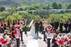 Outside wedding - Columns to line the aisle