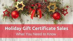 December is not that far off. In fact, Christmas is only 8 weeks away and  it's THE busiest time of year for gift certificate sales in the spa  industry. There are a few points I want you to pay attention to when it  comes to raking in all that money in December:  1.  A gift certificate sale is NOT a revenue until it's redeemed. Do not  include these sales in your Service goal setting or as taxable income  (yet...watch the Scope to find out why).  2. At the end of every week, put your Gift…
