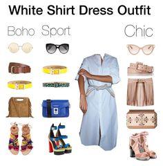 White Shirt Dress Outfit by annabaranovskaya on Polyvore featuring мода, Valentino, Elina Linardaki, Oscar de la Renta, Karl Lagerfeld, Maje, Alexander McQueen, Victoria Beckham, Dolce&Gabbana and Dsquared2