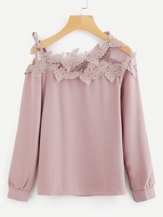Women Elegant Plain Top Regular Fit Asymmetrical Neck Long Sleeve Pink and Pastel Mesh Panel Crochet Appliques Asymmetric Cold Shoulder Blouse Cute Blouses, Blouses For Women, Women's Blouses, Blouse Styles, Blouse Designs, Cold Shoulder Bluse, Black Crochet Dress, Crochet Blouse, Crochet Top