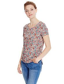 Coral Mix Feather Print Top