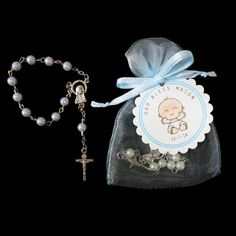 30 Mini Rosary Favors Baby Boy Baptism Favors by susiedees