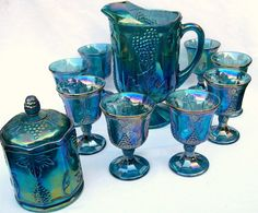 Indiana Glass Company: Iridescent Blue Harvest Grape Carnival Pitcher, 10 in. tall with Carnival Goblets and Carnival Candy Jar. Fenton Glassware, Vintage Glassware, Cut Glass, Glass Art, Blue Harvest, Blue Carnival Glass, Vintage Carnival, Indiana Glass, Glass Company