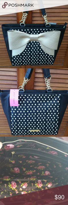 Betsy Johnson NWT Large Bow Tote Betsy Johnson NWT Black /Gold Bow Tote, Zippered Closure, 2Slip pockets inside, 1 zip pocket inside Betsy Johnson  Bags Totes