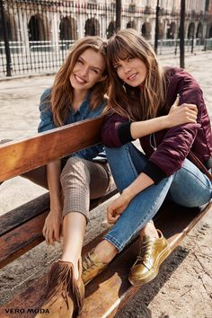 Photographed by Asa Tallgard, Josephine Skriver and Caroline Brasch Nielsen are all smiles in fall-winter 2016 campaign