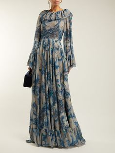 Floral-print ruffled georgette gown | Luisa Beccaria | MATCHESFASHION.COM Luisa Beccaria, Modest Fashion, Hijab Fashion, Fashion Dresses, Maxi Dress With Sleeves, Chiffon Dress, Hijab Stile, Mode Hijab, Western Outfits