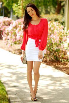 Forever 21 blouse, Bebe skirt, Enigma heels
