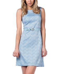 Look at this Guita Blue Geometric Floral Sleeveless Dress on #zulily today!