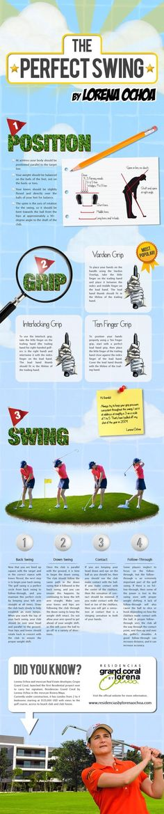Master your Golf Swing with this step by step guide brought to you by the 3 times LPGA world champion, Lorena Ochoa. Master your Golf Swing with this step by step guide brought to you by the 3 times LPGA world champion, Lorena Ochoa. Golf R, Play Golf, Sport Golf, Kids Golf, Golf Score, Golf Instruction, Golf Exercises, Golf Tips For Beginners, Perfect Golf