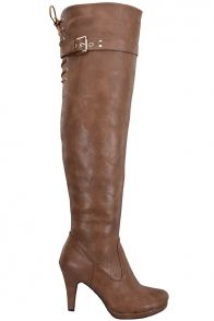 TAN CRINKLE FAUX LEATHER OVER THE KNEE BOOTS  #boots #leatherboots #overthekneeboots #heelboots #sexyboots #tanboots