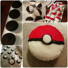 Pokeball cupcake with a chocolate base Pokeball Cupcakes, School Birthday, Base, Chocolate, Desserts, Food, Tailgate Desserts, Deserts, Schokolade