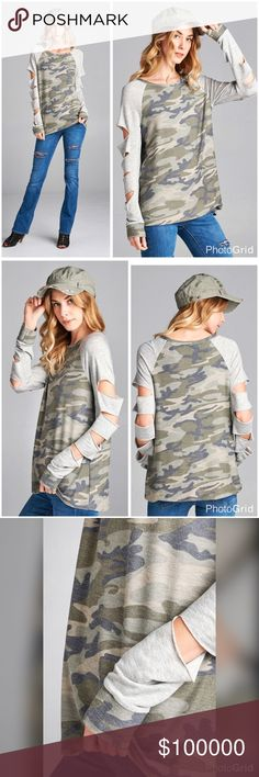 Slit arm washed military pattern tunic! PREORDER Loose-fit top with long contrast raglan sleeves and peek-a-boo slits cutout along the sleeves. Made in a washed military print french terry cloth.   Contrast: 65% Rayon, 32% Polyester, 3% Spandex  Fabric: French Terry  Content: 85% Polyester, 10% Rayon, 5% Spandex Tops Tunics