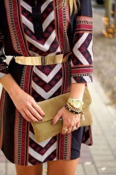 Colorful 3/4 Sleeves Dress. #gold #accents