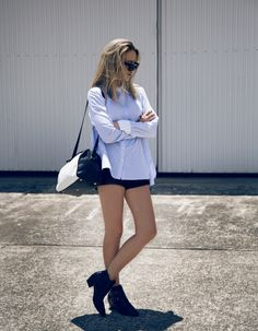 button down shirt 2017 with edgy shorts and boots