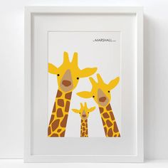Build your own little giraffe family with with mummy, daddy and baby or more.This product can be personalised with your family name, the text will read 'THE XXXXX FAMILY' (if you would like to add alternative text just get in touch!) Please ensure that you check the spelling of your personalised text as this cannot be changed or refunded after printing.Build your own little giraffe family, This cute print would look great in a childs bedroom or nursery, or even in the family kitchen or…