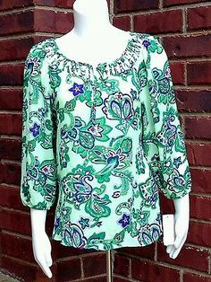 Green Blue Purple Floral Charter Club Blouse Petite Small New With Tags