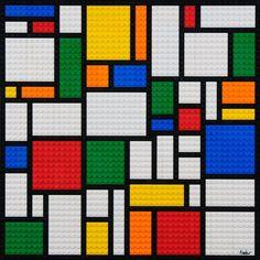 Mosaico abstracto de LEGO mosaico estilo Mondrian