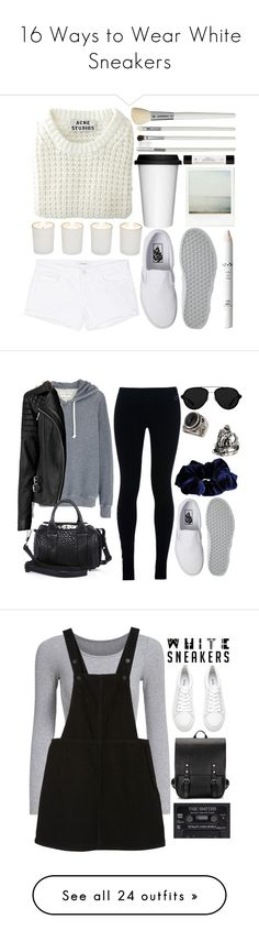 """16 Ways to Wear White Sneakers"" by polyvore-editorial ❤ liked on Polyvore featuring whitesneakers, waystowear, Vans, Sagaform, Cath Kidston, NYX, philosophy, Acne Studios, Witchery and J Brand"