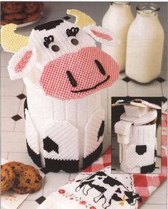 Cow Cookie Canister Plastic Canvas Pattern by needlecraftsupershop, $4.50