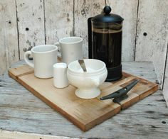 Cutting board/Serving Tray Reclaimed wood boat cleats by PegandAwl Serving Tray Wood, Wood Tray, Serving Board, Boat Cleats, Diy Cutting Board, Wood Boats, French Press, Diy Hacks, Coffee Maker