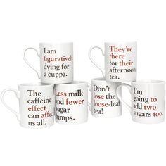 Grammar Grumble Mugs - Set of all six (I love these SOOOOOO much.)
