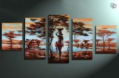 Amazon.com - 100% Hand-painted Wood Framed Wall Art African Tribe House Beauty Home Decoration Abstract Landscape Oil Painting on Canvas 5pcs/set - Wall Decorations For Living Room