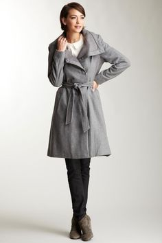 Vince Camuto Ribbed Trim Wool Coat