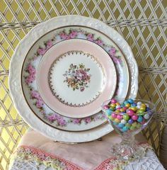 Check out all the the mismatched dishes and shabby chic designs by FancifulTableware on Etsy