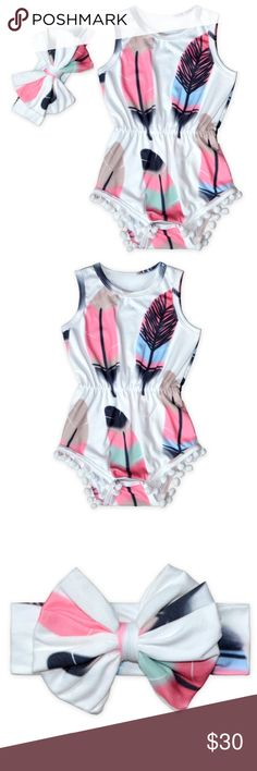 AVAILABLE NOW Pom Pom Feather One Piece W/Headband Stylish summer festival inspired one piece for your little girl! Comes with Headband. LIMITED Quantities One Pieces Bodysuits