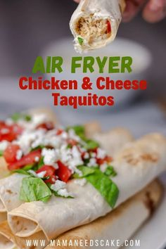 These taquitos are made with shredded chicken and mozzarella cheese and then cooked in the Air Fryer until the tortillas are crispy and crunchy.  #airfryer #airfryerappetizers #taquito #chickenandcheese #partyfood #instantpotvortex #vortexplus #vortex #chickenrecipes #chickenappetizers