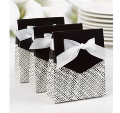 """These precious Black Tent Favor Boxes can be filled with a sweet treat (not included) and given to your guests as a """"thank you""""."""