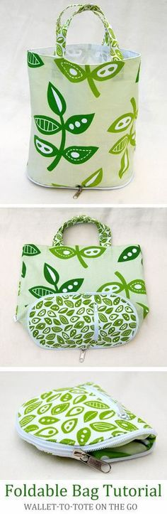 Foldable Bag DIY Tutorial : Foldable Bag ~ How to sew free tutorial for beginners. Ideas for sewing projects. Step by step illustration. Sewing Hacks, Sewing Tutorials, Sewing Crafts, Sewing Tips, Bag Tutorials, Bag Patterns To Sew, Sewing Patterns, Tote Pattern, Bag Sewing