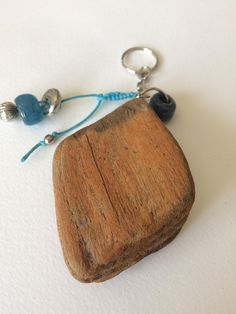 Driftwood Keyring, Driftwood Keychain, Chunky Keyring, Unique Gift, Blue Bead Keyring, Housewarming Gift, Natural Wood Gift, Coastal Beach Wood Gifts, Driftwood Art, Fundraising Ideas, Metal Beads, Glass Beads, Blue Beads, Key Rings, Natural Wood, Decorating Your Home