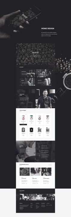 Mycoffee on Behance Website Design Layout, Web Layout, Layout Design, Design Sites, Graphic Design Lessons, Behance, Apps, Landing Page Design, Photoshop