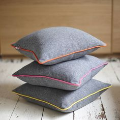 Grey & Neon Piping Cushion... for my classy grown up sofa