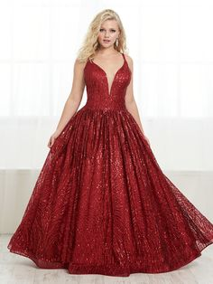 Striking V-neck drop waist dress features shiny sequins on cracked ice tulle, A-line skirt with lace-up back and train. Plus Prom Dresses, Formal Dresses, Red Colour Images, Elegant Ball Gowns, Fitted Bodice, Fit And Flare, Designer Dresses, Tiffany, Sequins