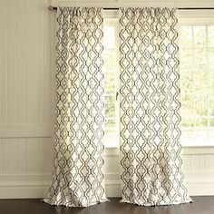 Faux designer sheer curtains with a sharpie and a pattern - like Ballard Designs