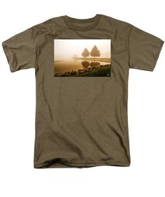 Men's T-Shirt  (Regular Fit) featuring the photograph Foggy Morning Lake by Joshua Zaring
