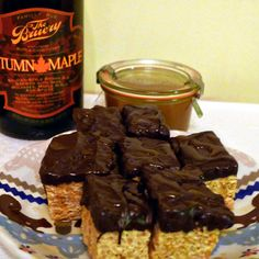 Beer rice krispy treats with Salted Beer Caramel Sauce and Beer Marshmallow Fluff - using The Bruery Autumn Maple beer!