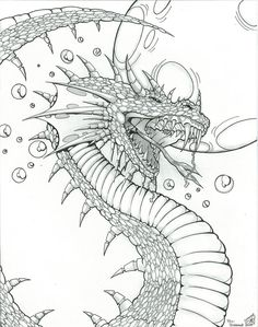 A Dragon Design I did while studying fantasy art techniques. Pencil and Inks by Dragon Design for Fantasy Art Coloring Pages For Grown Ups, Adult Coloring Book Pages, Printable Adult Coloring Pages, Animal Coloring Pages, Colouring Pages, Coloring Books, Coloring Sheets, Dragons, Dragon Coloring Page