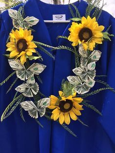 Items similar to Graduation Sunflower Butterfly Money Lei on Etsy Graduation Crafts, Graduation Leis, Graduation Presents, Grad Gifts, Diy Gifts, Graduation Necklace, Graduation Decorations, Graduation Pictures, Ribbon Lei