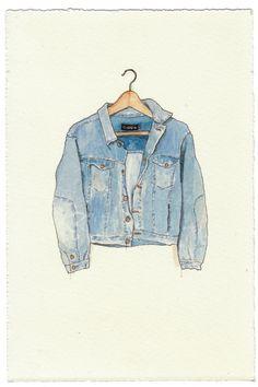 NEW/ORIGINAL Watercolor Illustration - Worn In Blue Grunge Denim Jean Jacket III. $80.00, via Etsy.