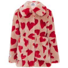Fun Heart Print Luxe Faux Fur Jacket by Jakke found on Polyvore featuring outerwear, jackets, sand, fake fur jacket, faux fur jacket, red jacket, pocket jacket and jakke