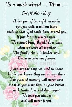 Personalised In Loving Memory, Flower, grave, Mother s Day card for Mum Nan ect Mum Poems, Mother Poems, Mothers Day Poems, Happy Mother Day Quotes, Mother Day Wishes, Mother Quotes, Grief Poems, Mom Qoutes, Life Quotes