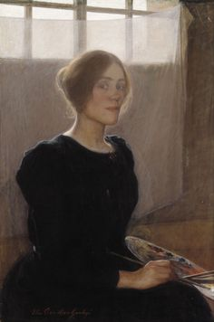 Large (Wikimedia)  Elin Danielson-Gambogi painted her Self-Portrait in 1900.  Her stark black dress serves as a wonderful foil to her bright background, while the shades of tan in the background and her own coloration make the glow of the paints on her...