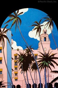 Photo of c.1935, Hawaii, Oahu, Honolulu, Royal Hawaiian Hotel and palm trees framed with arch of building.