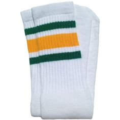 """Amazon.com : Skater Socks 19"""" Mid calf White tube socks with... (34.415 COP) ❤ liked on Polyvore featuring intimates, hosiery, socks, sport socks, green tube socks, green striped socks, stripe socks and striped socks"""