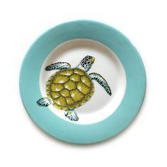"Jersey Pottery - Neptune Salad Plate 9"" - Turtle"