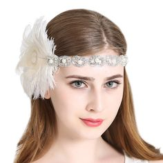 Peacock 1920s Flapper Headband Art Deco|JaosWish – vintage1950s Great Gatsby Headpiece, Flapper Headpiece, Gatsby Headband, Headpiece Wedding, Vintage Headbands, Headbands For Women, Flapper Style, 1920s Flapper, Blossom Costumes