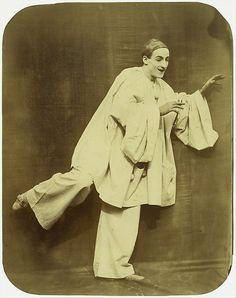 Nadar (French, 1820–1910) Pierrot Running, 1854–55. Gilman Collection, Purchase, The Horace W. Goldsmith Foundation Gift, through Joyce and Robert Menschel, 2005 (2005.100.43)   Félix Tournachon (Nadar) and his younger brother, Adrien, made a series of large photographs of Charles Debureau, son of Baptiste Debureau, the famous mime of the Théâtre des Funambules. These photographs attracted much public attention and won the gold medal at the Exposition Universelle of 1855 in Paris. #paris